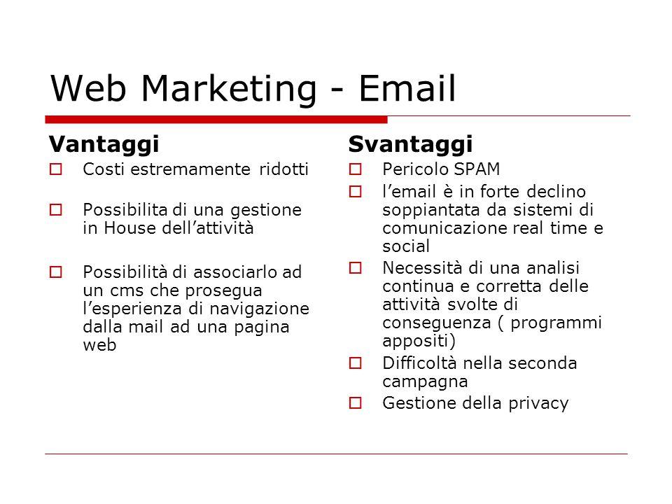 Web Marketing - Email Vantaggi Svantaggi Costi estremamente ridotti