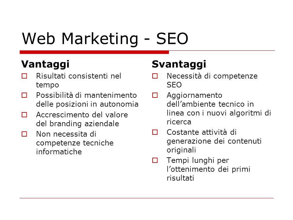 Web Marketing - SEO Vantaggi Svantaggi Risultati consistenti nel tempo