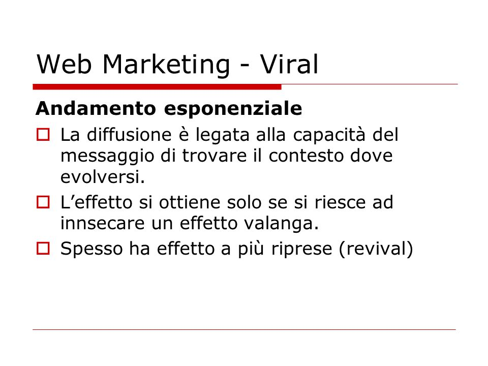 Web Marketing - Viral Andamento esponenziale