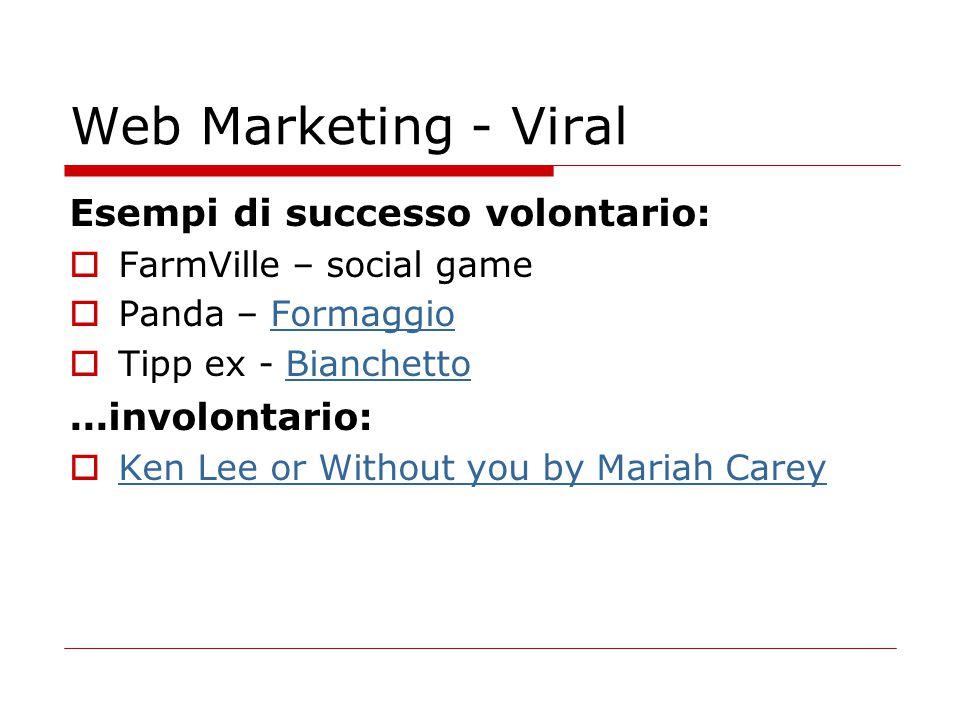 Web Marketing - Viral Esempi di successo volontario: ...involontario: