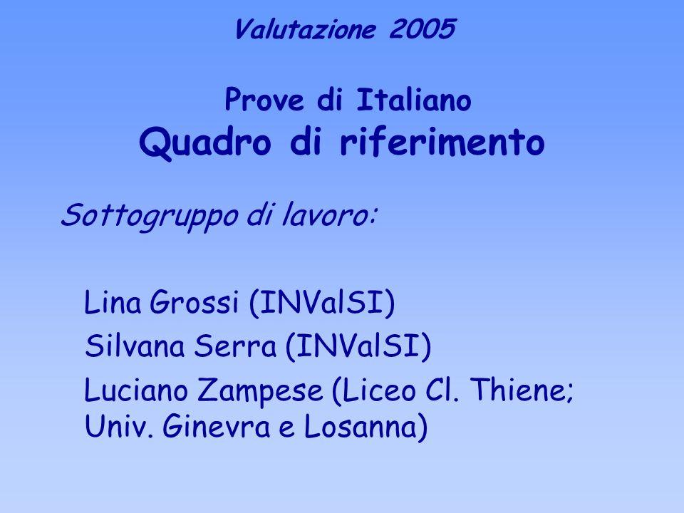 Valutazione 2005 Prove di Italiano Quadro di riferimento