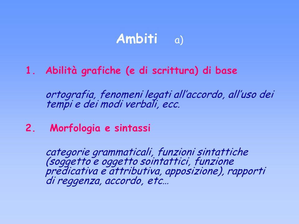 Ambiti a) Abilità grafiche (e di scrittura) di base