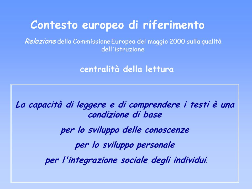 Contesto europeo di riferimento