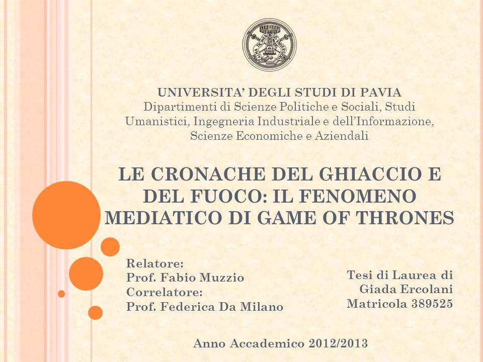 Relatore: Prof. Fabio Muzzio Correlatore: Prof. Federica Da Milano