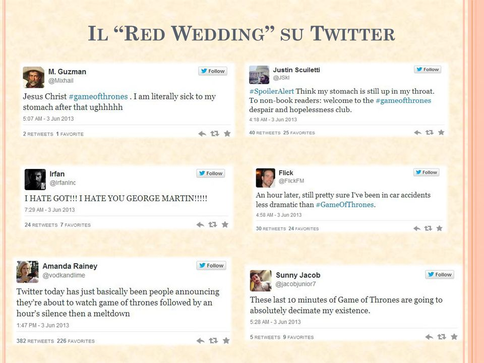Il Red Wedding su Twitter
