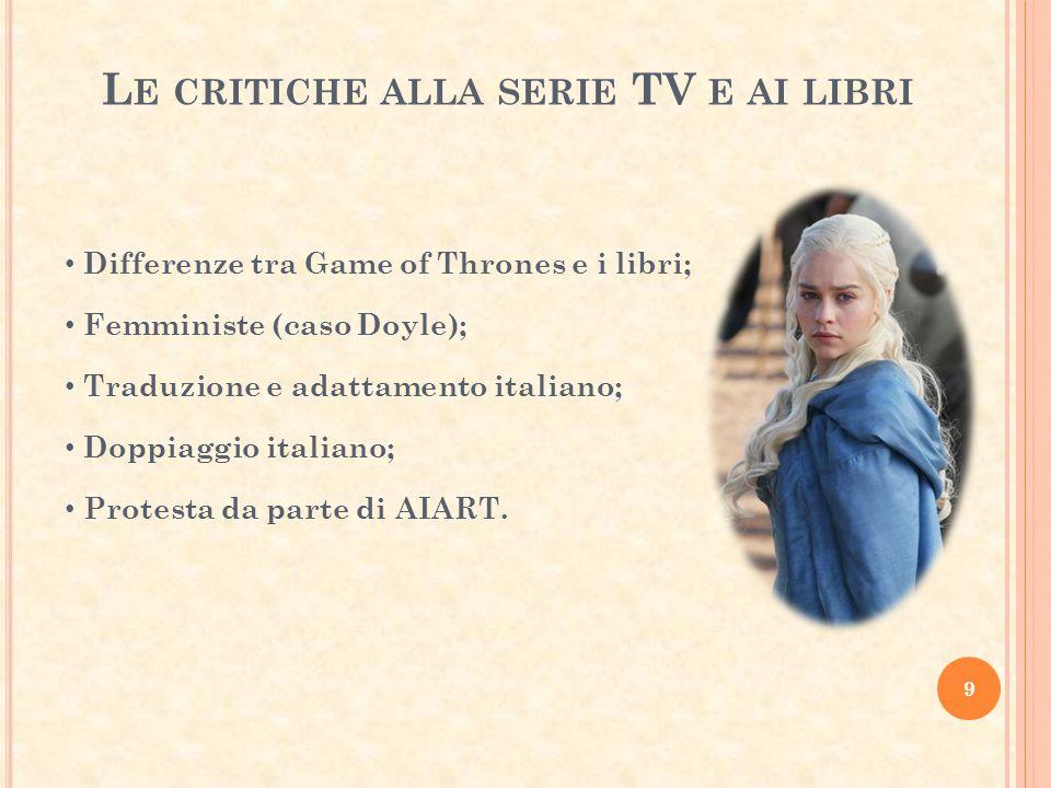 Le critiche alla serie TV e ai libri