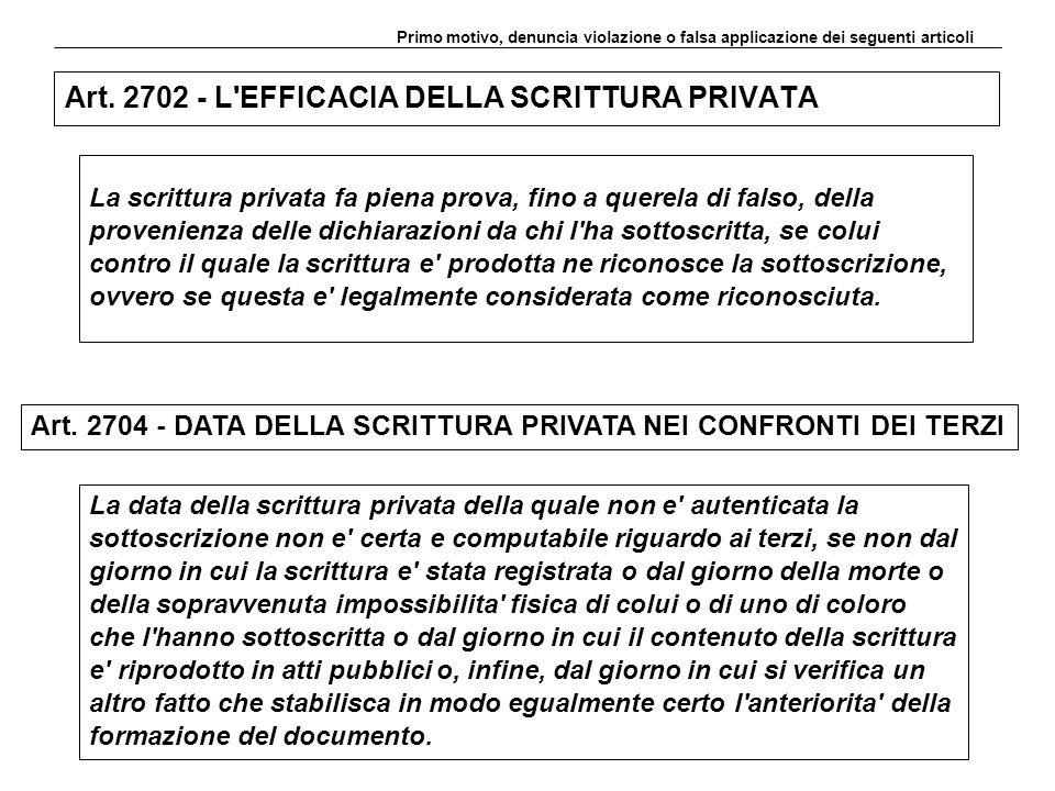 Art. 2702 - L EFFICACIA DELLA SCRITTURA PRIVATA