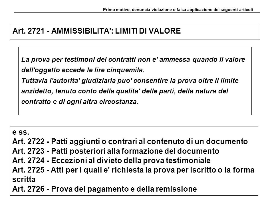 Art. 2721 - AMMISSIBILITA : LIMITI DI VALORE