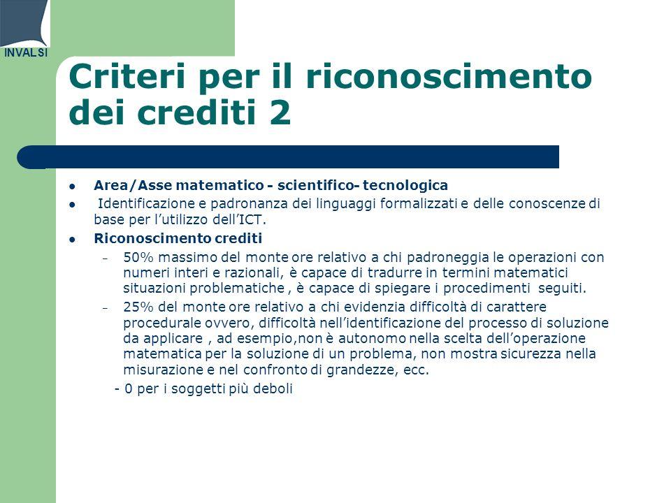 Criteri per il riconoscimento dei crediti 2