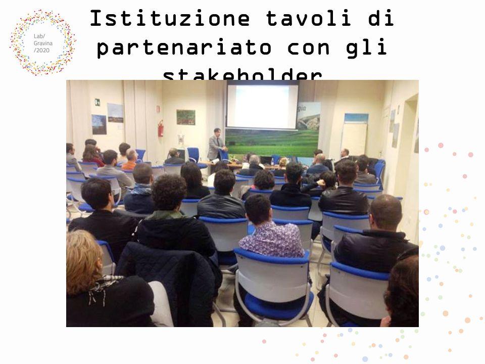 Istituzione tavoli di partenariato con gli stakeholder