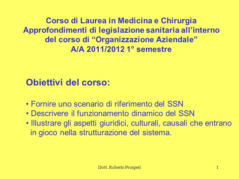 Corso di Laurea in Medicina e Chirurgia Approfondimenti di legislazione sanitaria all'interno del corso di Organizzazione Aziendale A/A 2011/2012 1° semestre