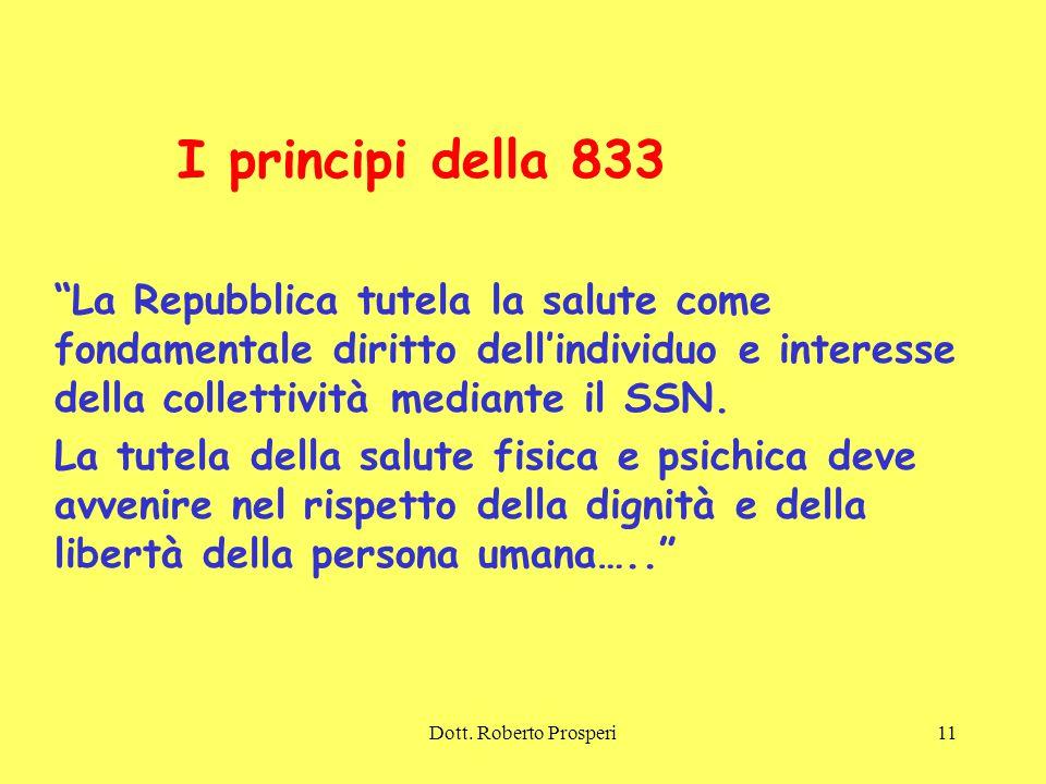 I principi della 833 La Repubblica tutela la salute come fondamentale diritto dell'individuo e interesse della collettività mediante il SSN.