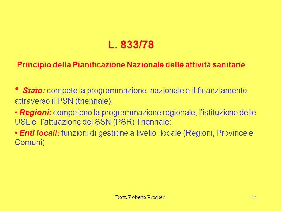 L. 833/78 Principio della Pianificazione Nazionale delle attività sanitarie
