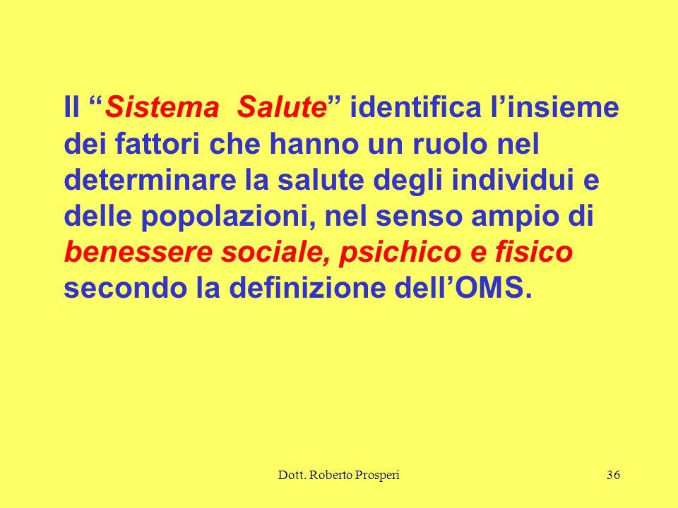Il Sistema Salute identifica l'insieme dei fattori che hanno un ruolo nel determinare la salute degli individui e delle popolazioni, nel senso ampio di benessere sociale, psichico e fisico secondo la definizione dell'OMS.