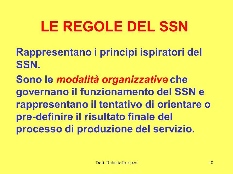LE REGOLE DEL SSN Rappresentano i principi ispiratori del SSN.