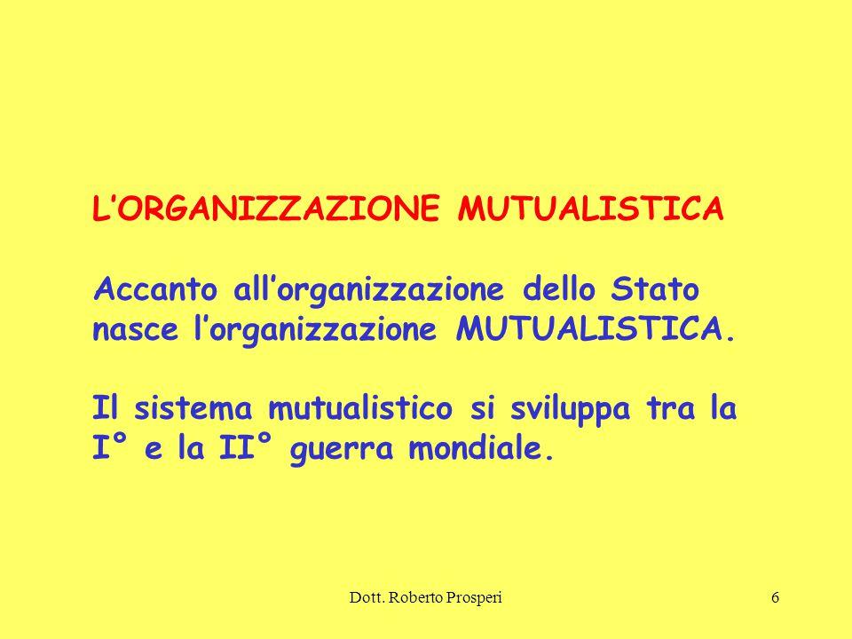 L'ORGANIZZAZIONE MUTUALISTICA Accanto all'organizzazione dello Stato
