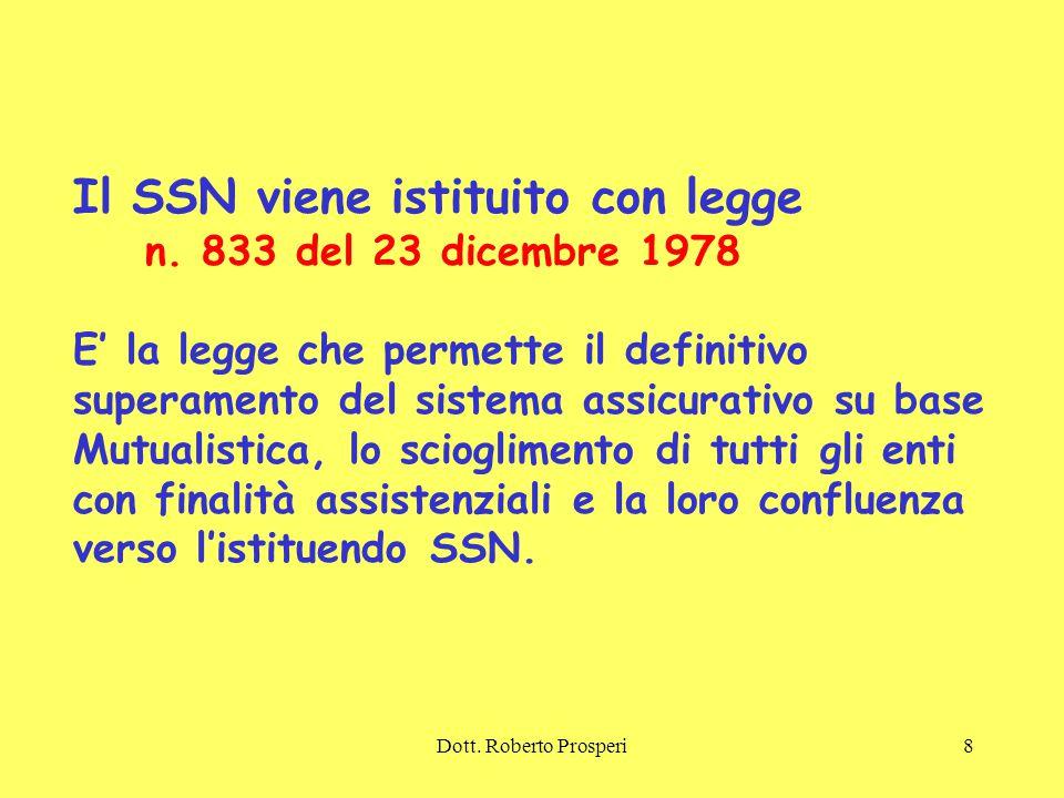 Il SSN viene istituito con legge