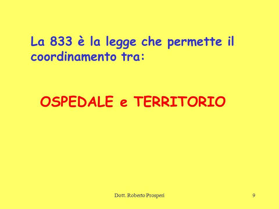 La 833 è la legge che permette il coordinamento tra: