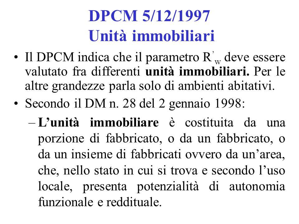 DPCM 5/12/1997 Unità immobiliari