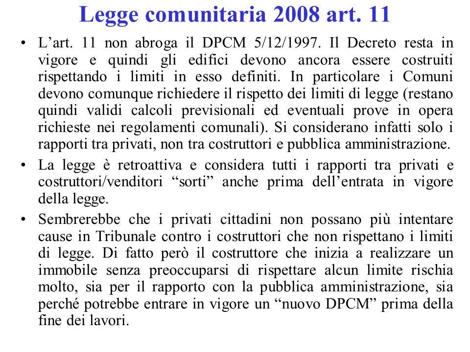 Legge comunitaria 2008 art. 11