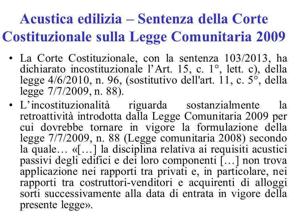 Acustica edilizia – Sentenza della Corte Costituzionale sulla Legge Comunitaria 2009