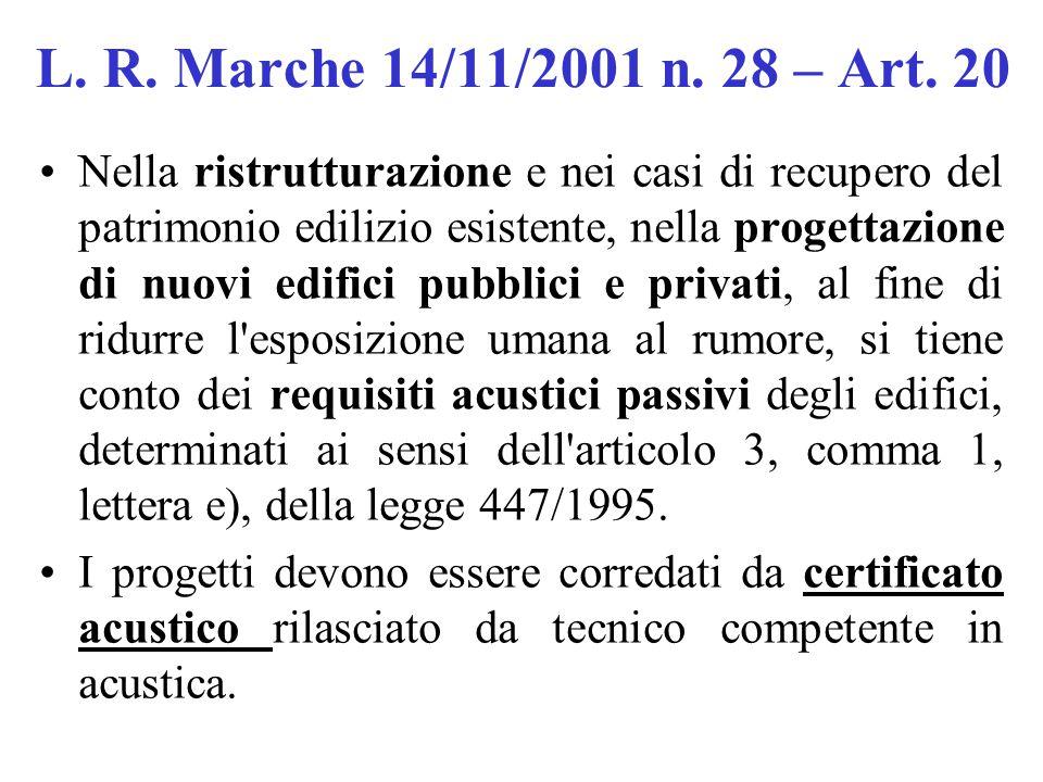 L. R. Marche 14/11/2001 n. 28 – Art. 20