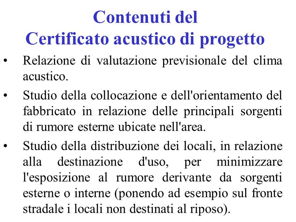 Contenuti del Certificato acustico di progetto