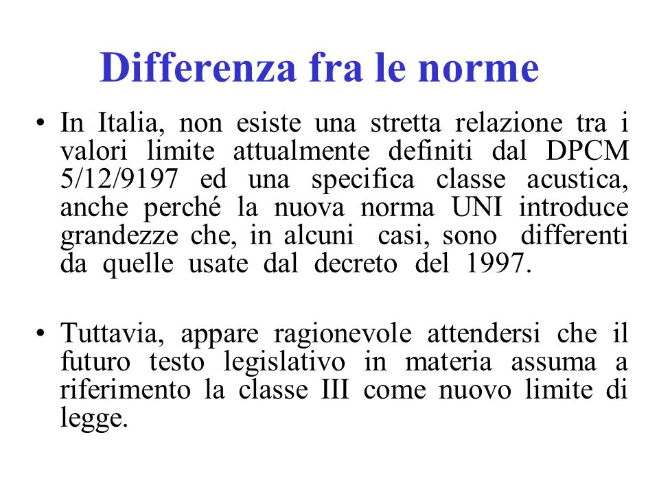 Differenza fra le norme