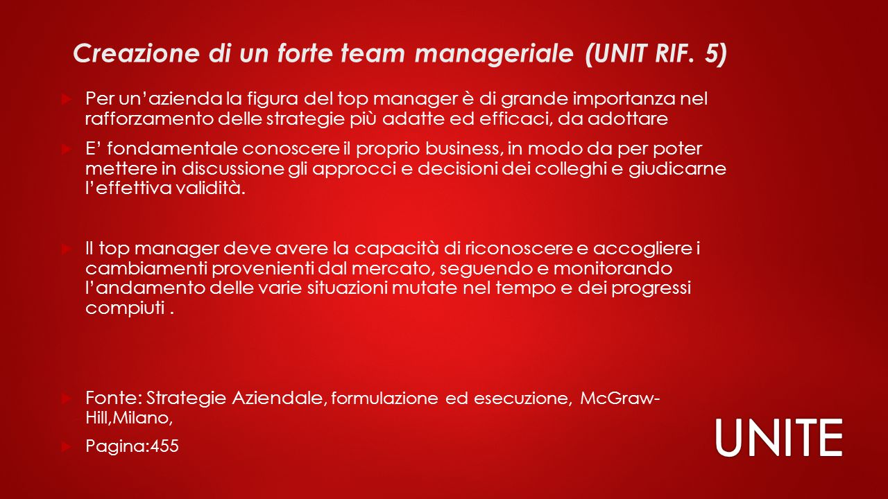 Creazione di un forte team manageriale (UNIT RIF. 5)