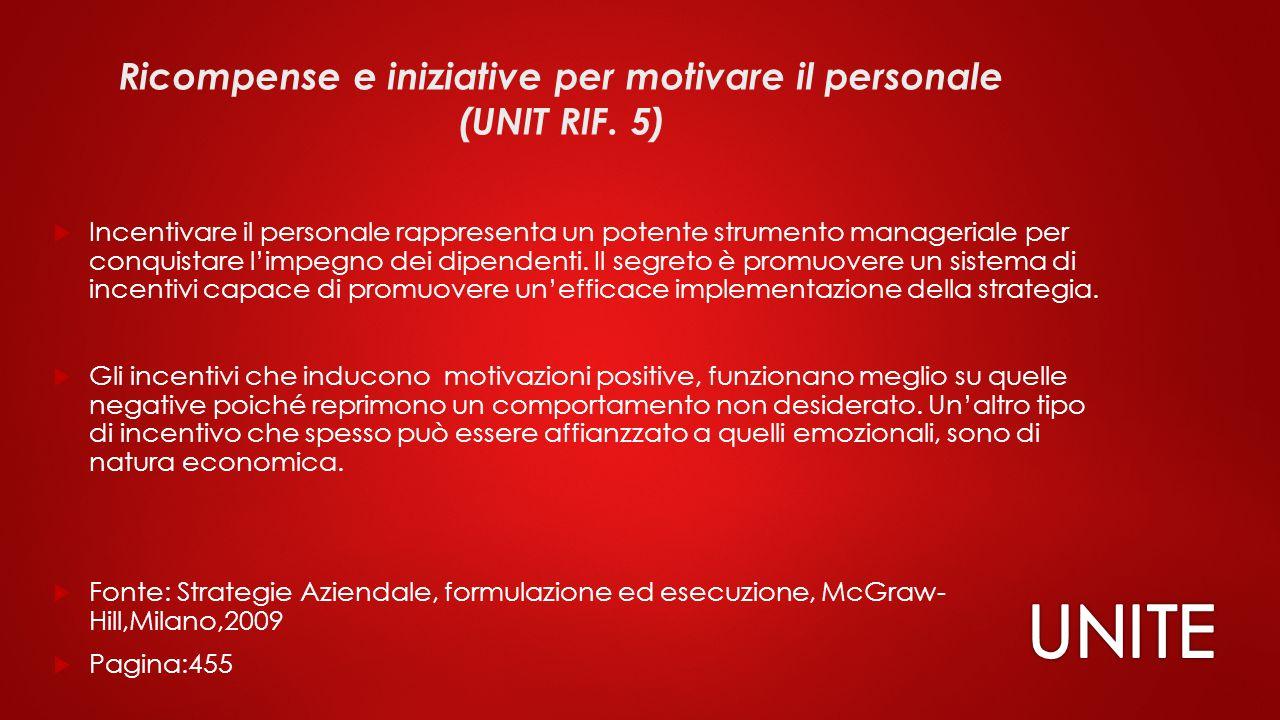 Ricompense e iniziative per motivare il personale (UNIT RIF. 5)