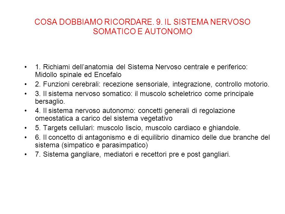 COSA DOBBIAMO RICORDARE. 9. IL SISTEMA NERVOSO SOMATICO E AUTONOMO