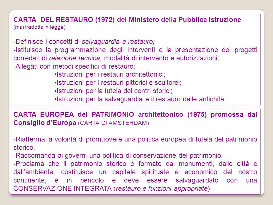 CARTA DEL RESTAURO (1972) del Ministero della Pubblica Istruzione