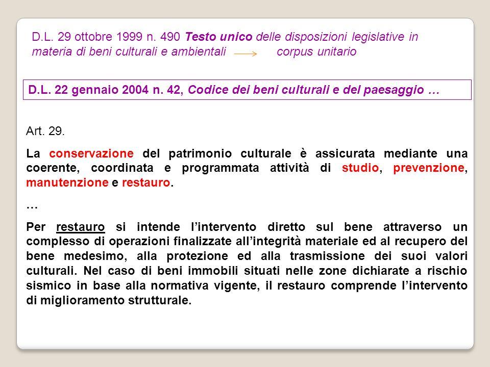 D.L. 29 ottobre 1999 n. 490 Testo unico delle disposizioni legislative in materia di beni culturali e ambientali corpus unitario