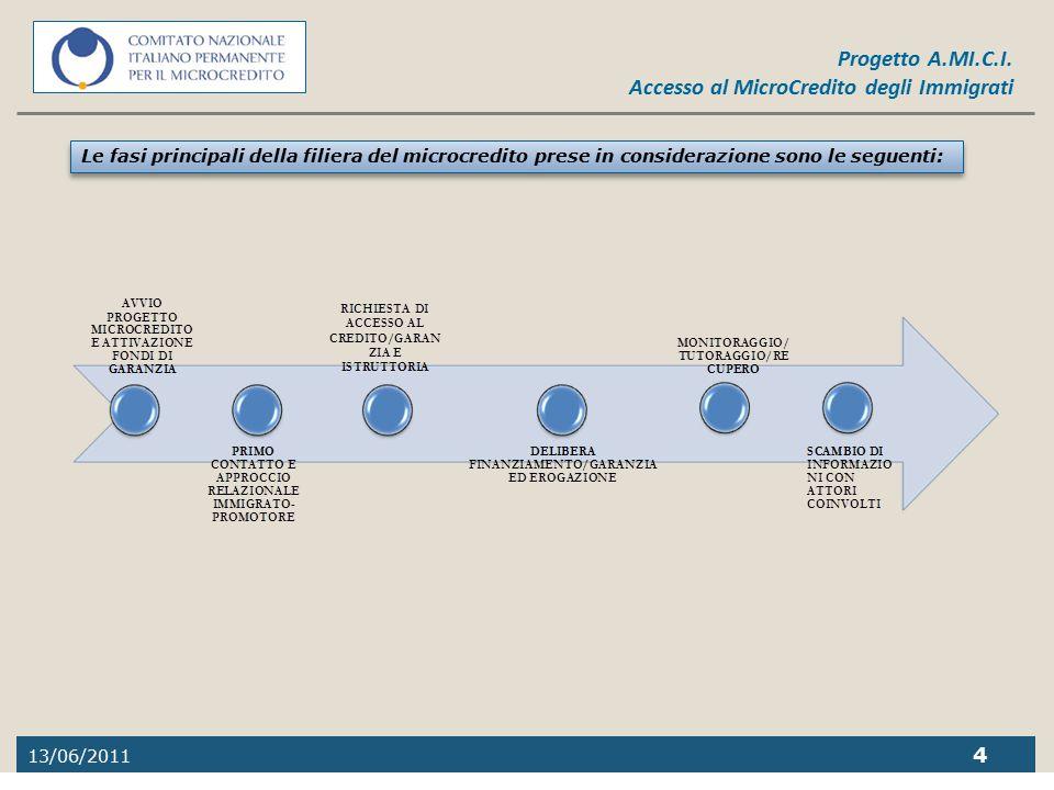 Le fasi principali della filiera del microcredito prese in considerazione sono le seguenti: