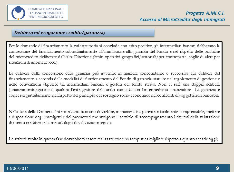 Delibera ed erogazione credito/garanzia;