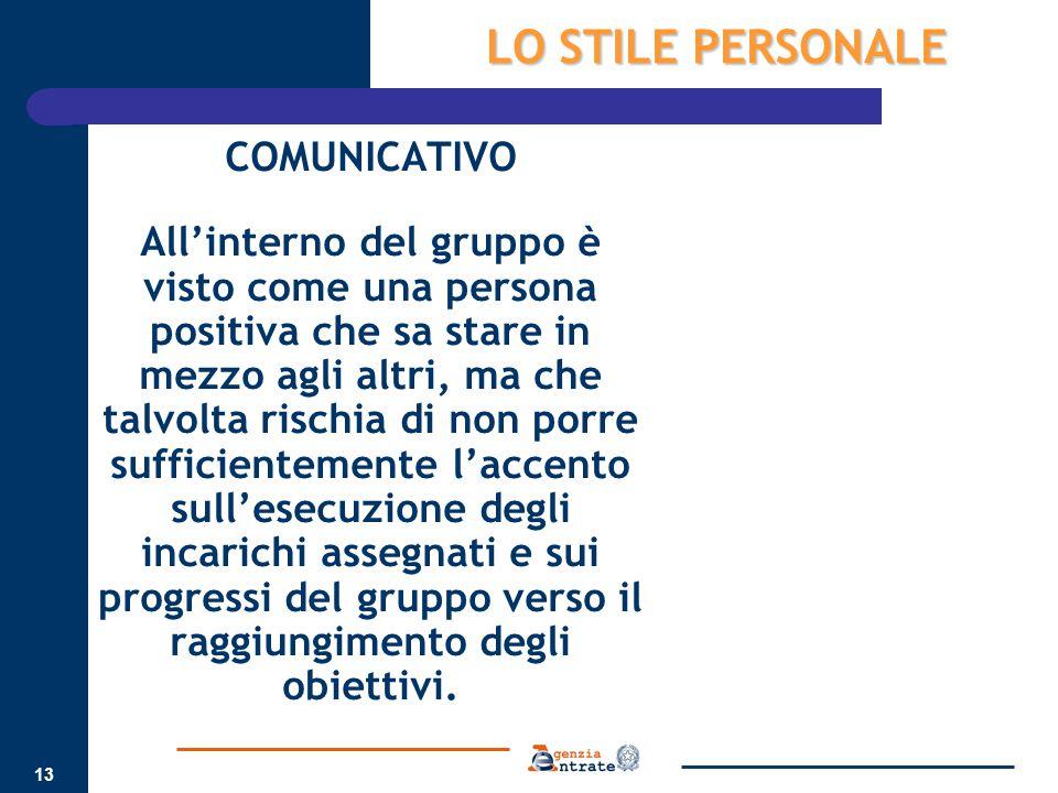 LO STILE PERSONALE COMUNICATIVO