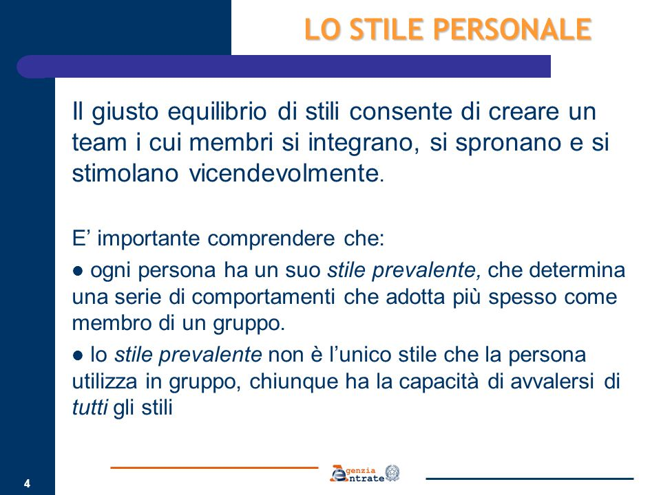 LO STILE PERSONALE Il giusto equilibrio di stili consente di creare un team i cui membri si integrano, si spronano e si stimolano vicendevolmente.