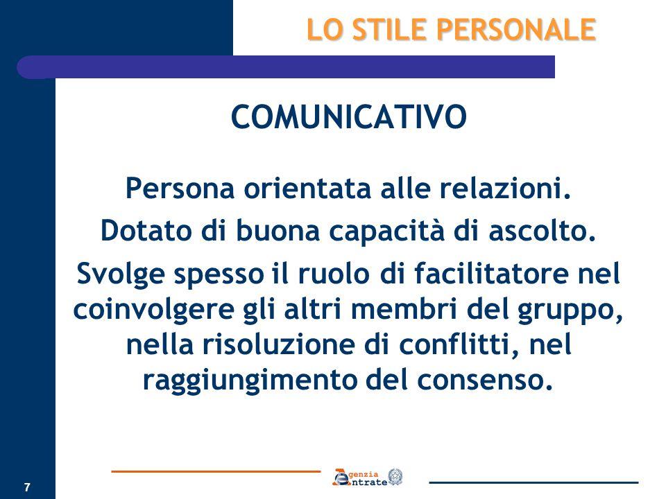 Persona orientata alle relazioni. Dotato di buona capacità di ascolto.