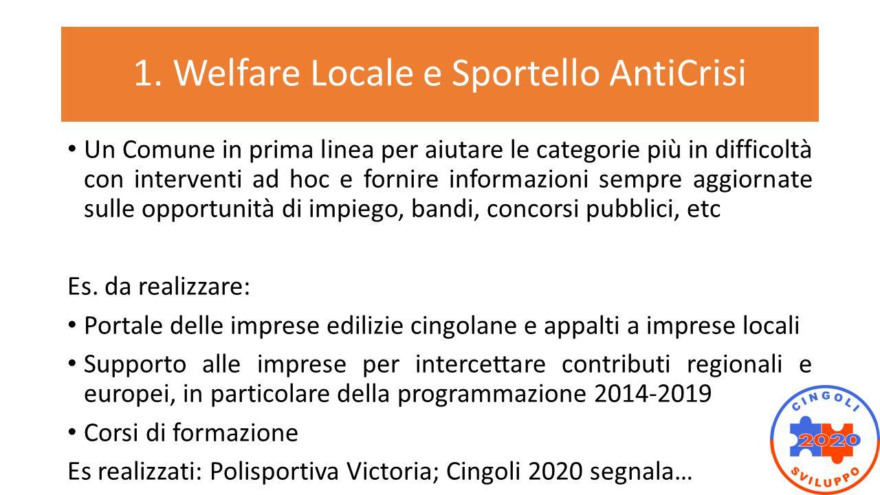 1. Welfare Locale e Sportello AntiCrisi