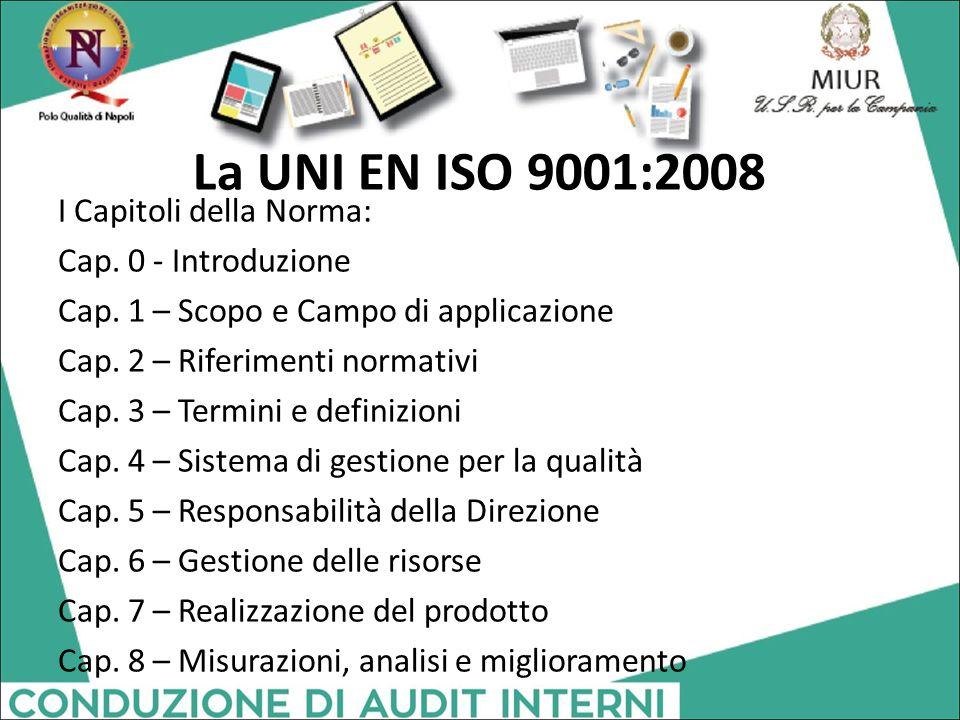 La UNI EN ISO 9001:2008 I Capitoli della Norma: Cap. 0 - Introduzione