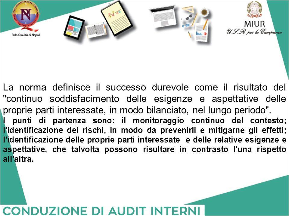 La norma definisce il successo durevole come il risultato del continuo soddisfacimento delle esigenze e aspettative delle proprie parti interessate, in modo bilanciato, nel lungo periodo .