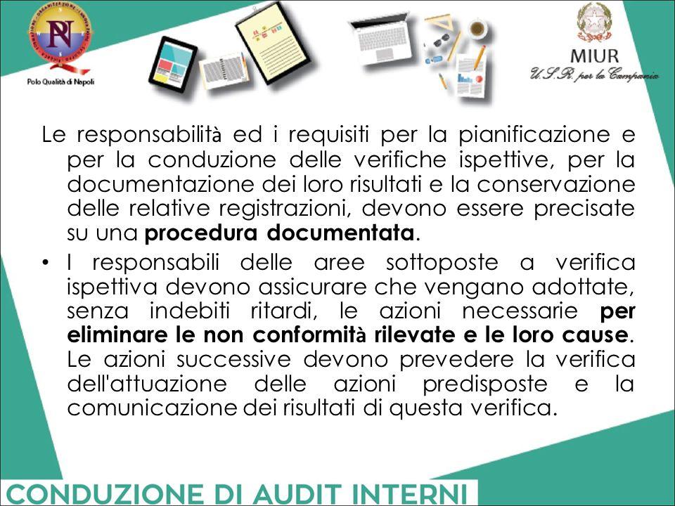 Le responsabilità ed i requisiti per la pianificazione e per la conduzione delle verifiche ispettive, per la documentazione dei loro risultati e la conservazione delle relative registrazioni, devono essere precisate su una procedura documentata.