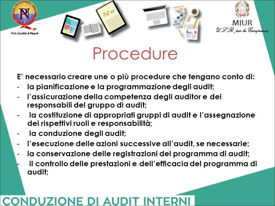 Procedure E' necessario creare une o più procedure che tengano conto di: la pianificazione e la programmazione degli audit;