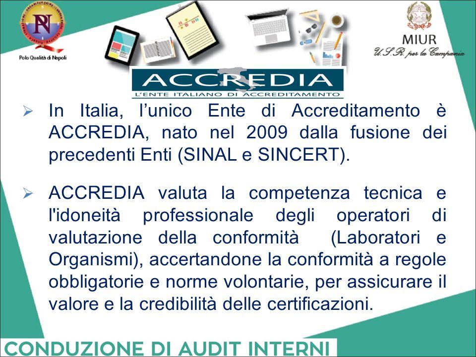 In Italia, l'unico Ente di Accreditamento è ACCREDIA, nato nel 2009 dalla fusione dei precedenti Enti (SINAL e SINCERT).