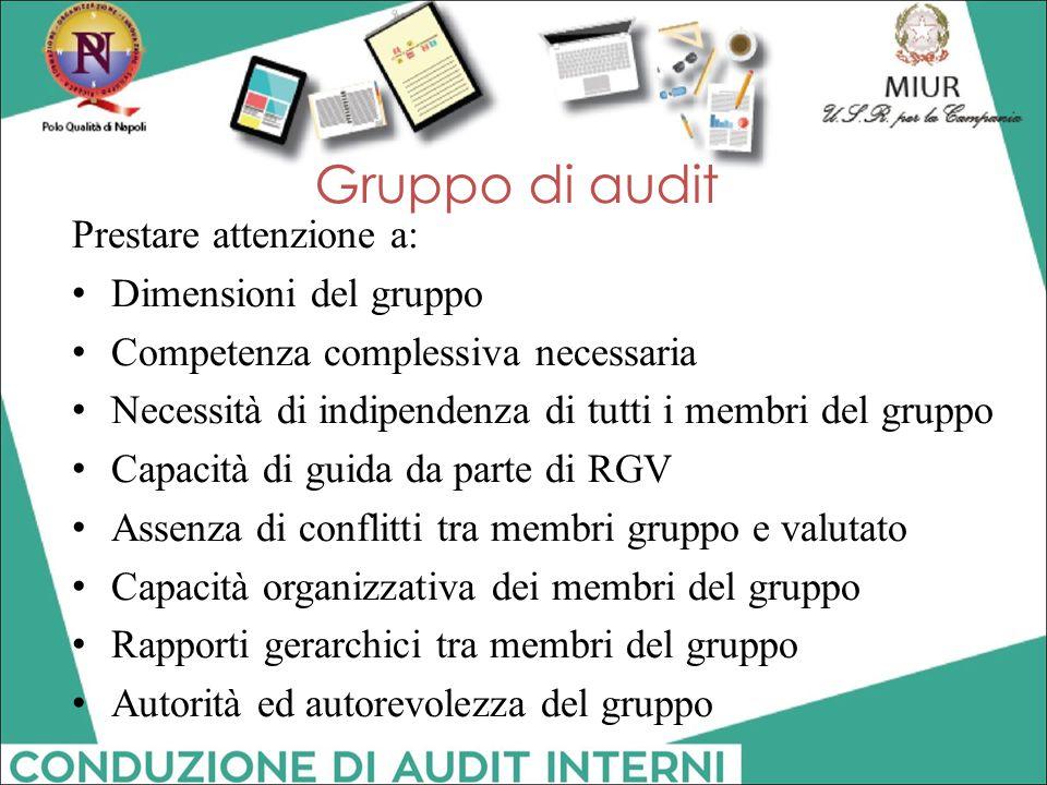 Gruppo di audit Prestare attenzione a: Dimensioni del gruppo