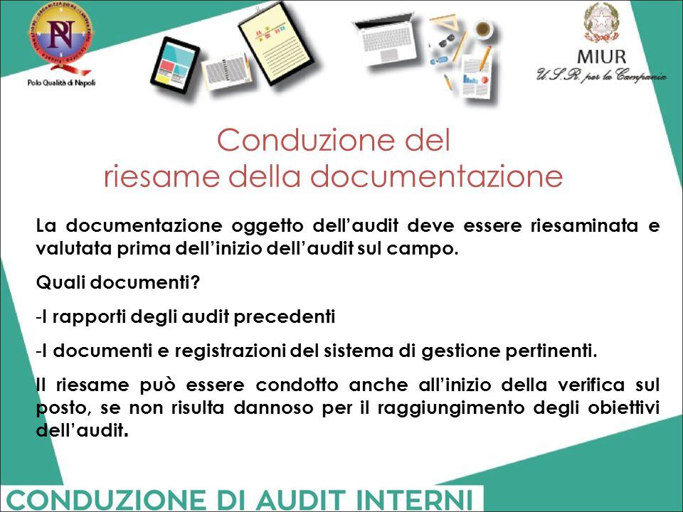 Conduzione del riesame della documentazione