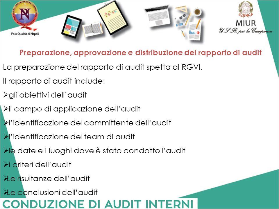 Preparazione, approvazione e distribuzione del rapporto di audit