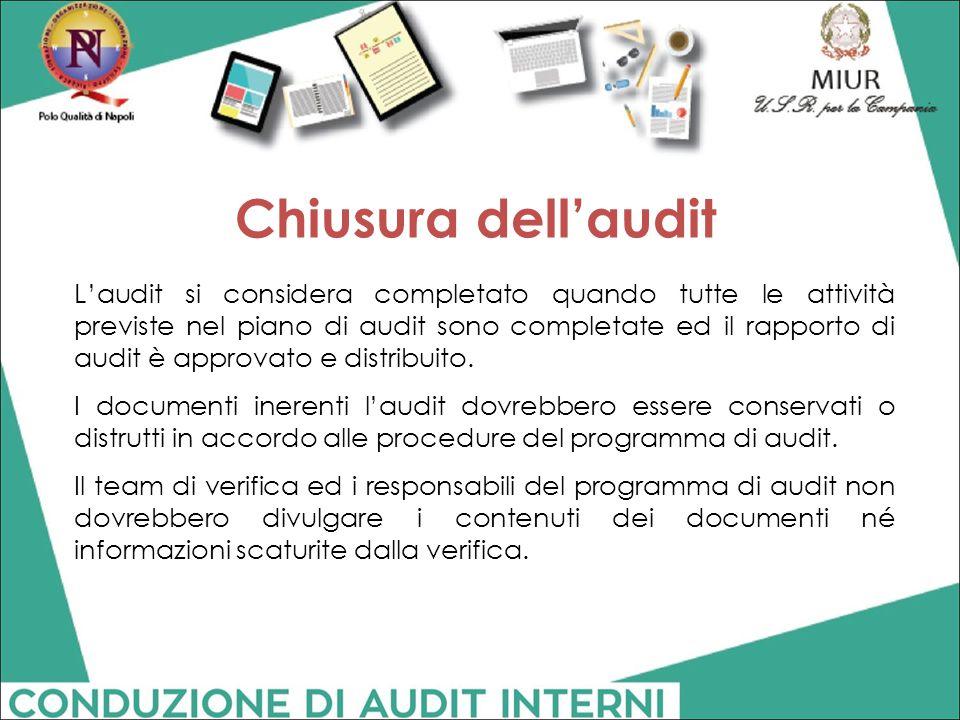 Chiusura dell'audit
