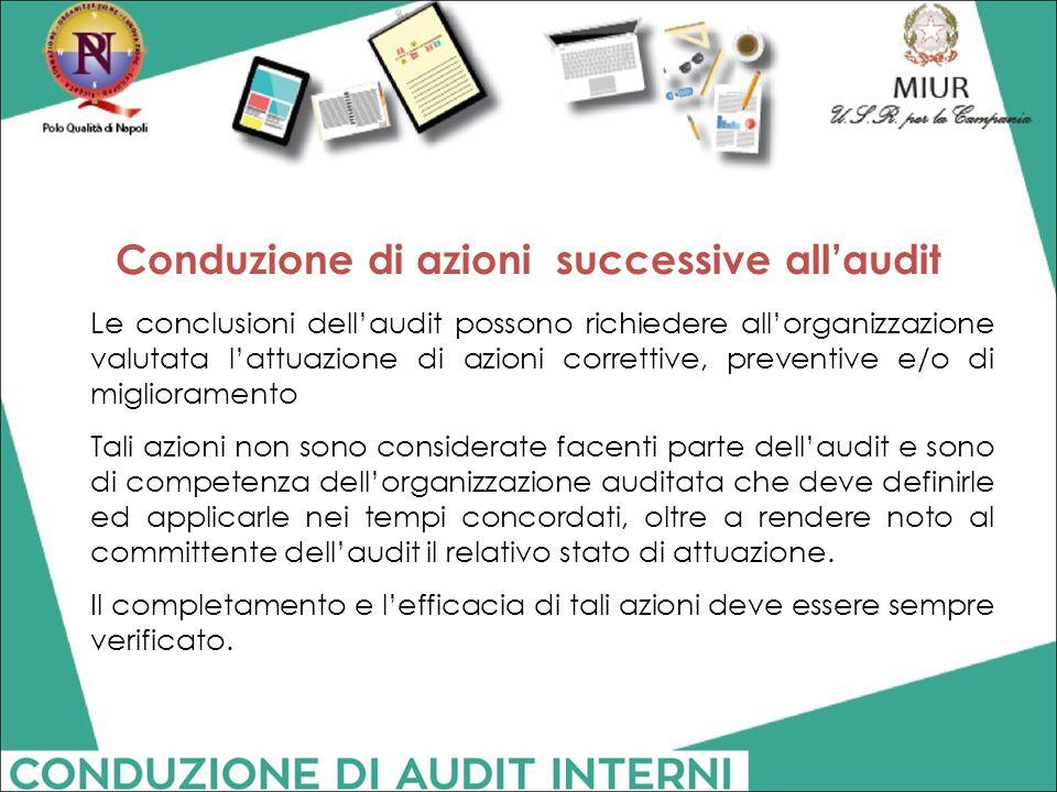 Conduzione di azioni successive all'audit
