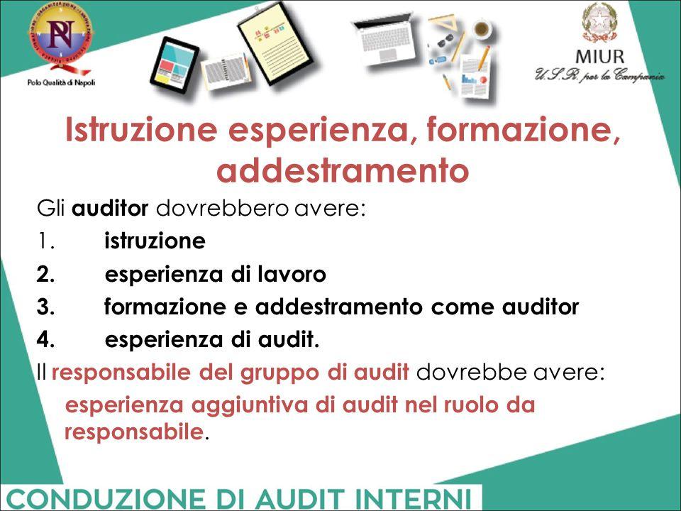 Istruzione esperienza, formazione, addestramento